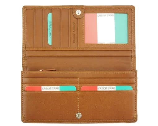 tan wallet carlita in soft leather from italy for woman