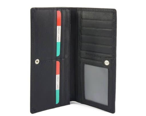black wallet carlita in soft leather from italy for woman