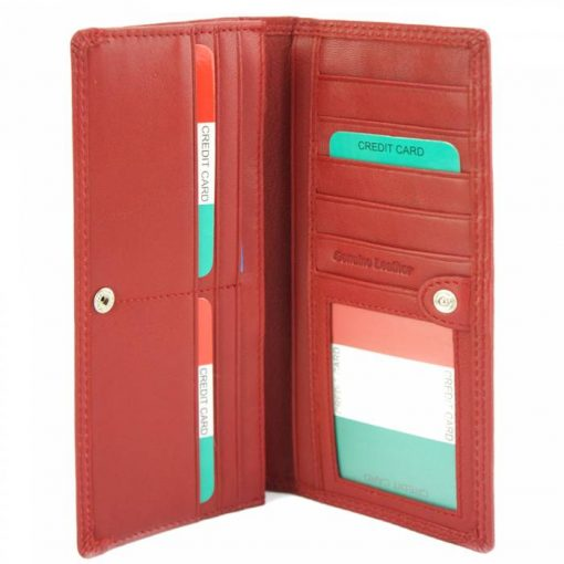 red wallet carlita in soft leather from italy for woman