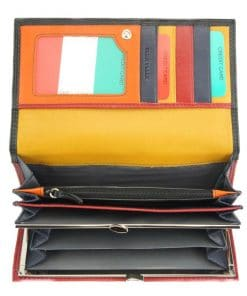 black red wallet augusta in genuine leather from italy