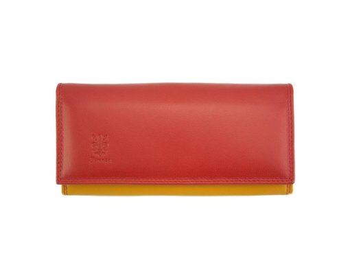 red yellow wallet augusta in genuine leather for woman