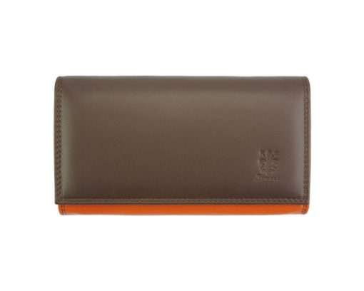 orange dark brown wallet aurica in soft leather from italy for woman