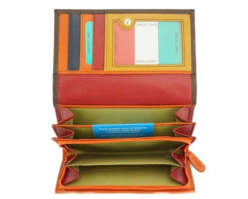 orange dark brown wallet aurica in soft real leather from italy for woman