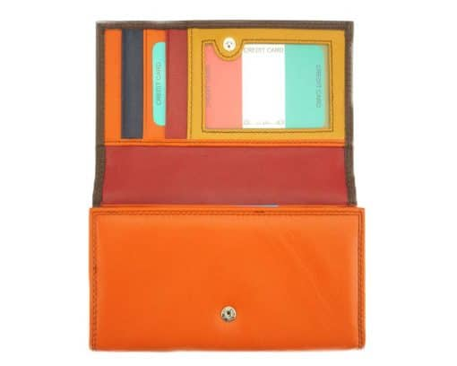 orange dark blue wallet aurica in soft genuine leather from italy for woman