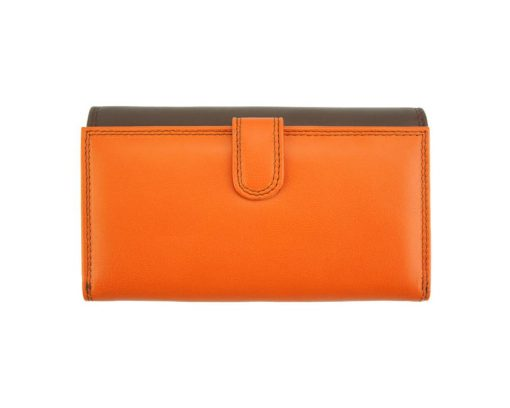 orange dark blue wallet aurica in soft natural leather from italy for woman