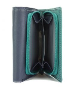 dark blue turquoise wallet in natural leather brindana for woman