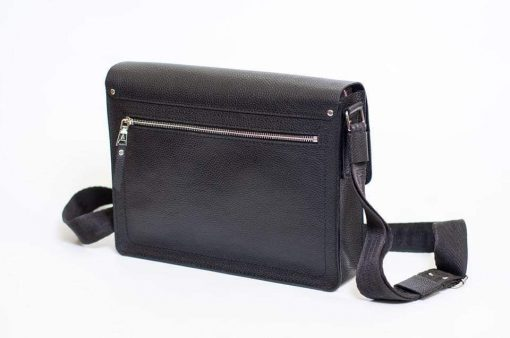 black cross body bag in real soft leather Franco from italy for men