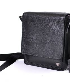 buy italian black cross body bag in genuine leather Franco super sell for man