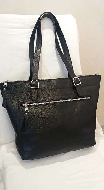 handbag from genuine leather Anastasia colour black with double handle fashion good leather for women