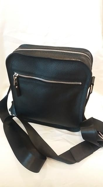 cross body bag from genuine leather Boris colour black photos fashion discounts made in italy modern for men