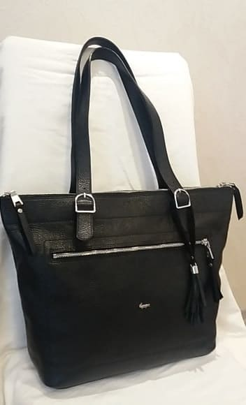 handbag from genuine leather Anastasia colour black fashion with double handle for women