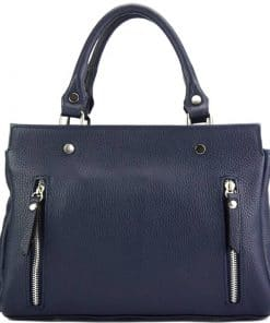 handbag from genuine leather Borislava colour dark blue made in italy stylish for women