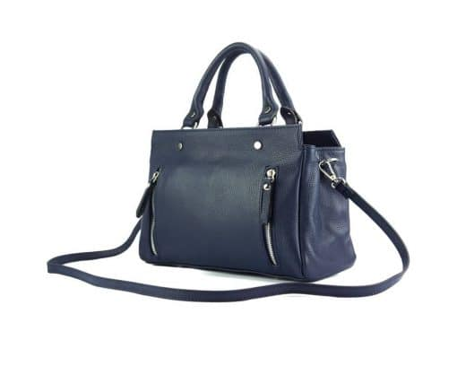 handbag from genuine leather Borislava colour dark blue modern for women