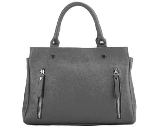 handbag from genuine leather Borislava colour grey photos modern for women