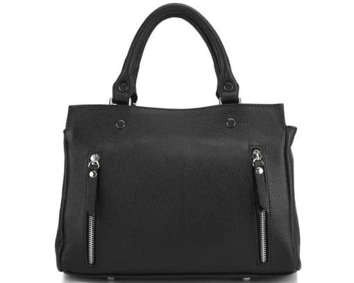 handbag from genuine leather Borislava colour black photos modern for women