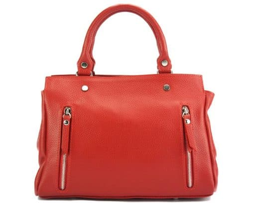 handbag from genuine leather Borislava colour light red photos modern for women