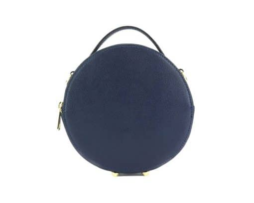 round cross body bag from genuine leather colur dark blue photos from italy discounts for women