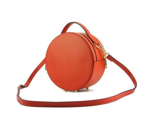 round cross body bag from genuine leather colur red photos from italy for women