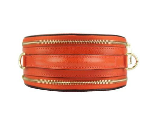 round cross body bag from genuine leather colur red photos for women