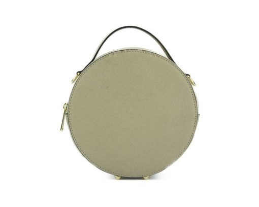 round cross body bag from genuine leather colur light taupe for women
