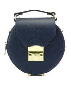 round styleish modern fashion cross body bag from genuine leather colur dark blue for women