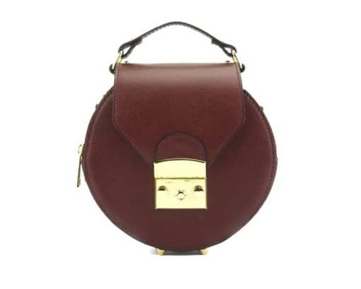 round styleish modern fashion cross body bag from genuine leather colur bordeaux for women