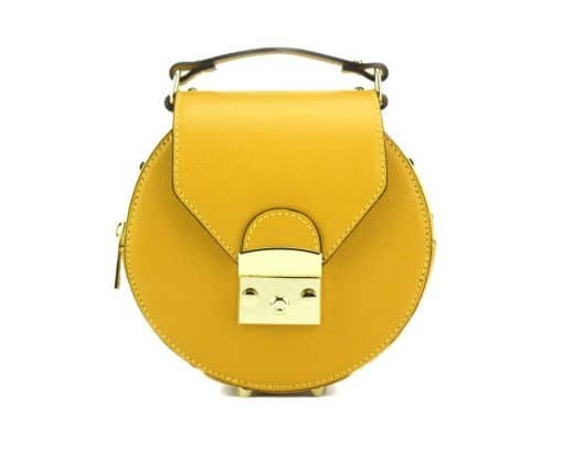 round styleish modern fashion cross body bag from genuine leather colur yellow for women