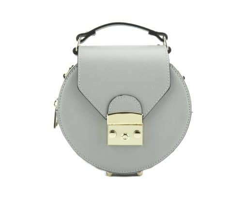 round styleish modern fashion cross body bag from genuine leather colur grey for women