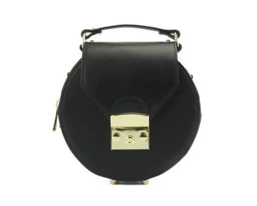 round styleish modern fashion cross body bag from genuine leather colur black for women