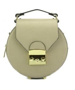 round styleish modern fashion cross body bag from genuine leather colur light taupe for women
