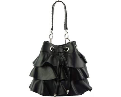 stylish bag Liliana in genuine leather colour black from italy discount for women