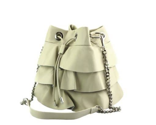 stylish bag Liliana in genuine leather colour beige from italy photos for women