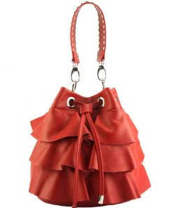 stylish bag Liliana in genuine leather colour light red for women