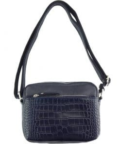 dark blue cross body bag Mirella in genuine leather from italy for women