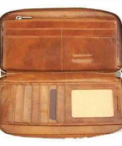 tan wallet Nadejda in genuine leather from Italy for women