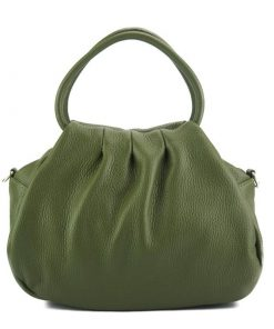 dark green handbag Nikoleta from leather from italy for women