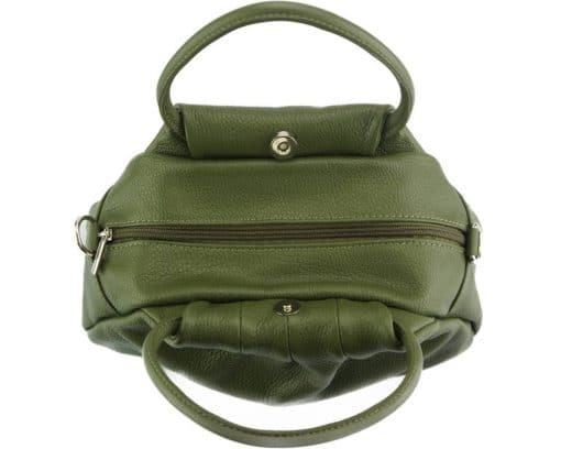 dark green handbag Nikoleta from genuine leather for women