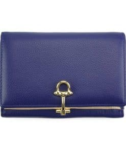 blue wallet Isabella in leather from italy for women