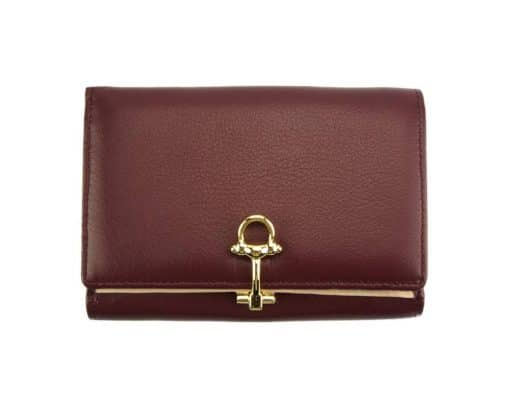 bordeaux wallet Isabella in leather from italy for women