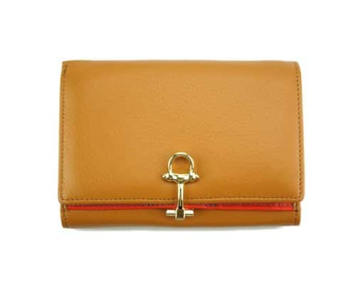tan wallet Isabella in leather from italy for women