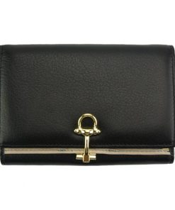 black wallet Isabella in leather from italy for women