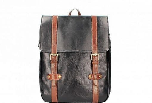black brown Unisex genuine cow leather backpack Zulio from italy