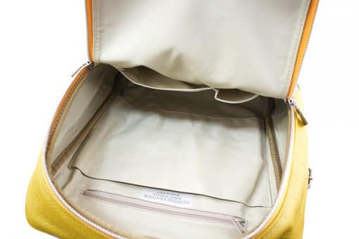 yellow Unisex backpack Betta made of genuine calfskin from italy