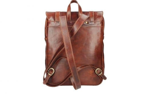 brown Unisex genuine cow leather backpack Zulio from italy