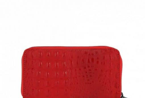 red Women's wallet Cira made of genuine leather in crocodile style from italy new