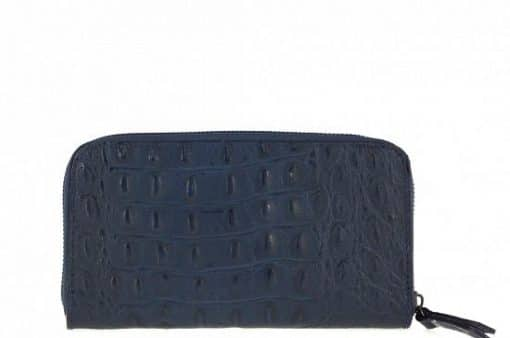 dark blue Women's wallet Cira made of genuine leather in crocodile style from italy