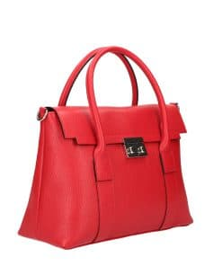 Women's handbag made of genuine leather red colour from italy