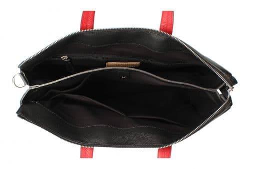 Business bag Cesare from calfskin black red colour for woman