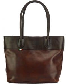 Tote Valeria bag in leather dark brown black colour last model for women