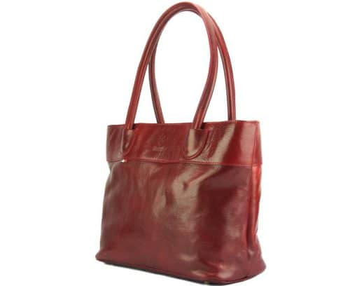 Tote Valeria bag in leather dark red colour for women